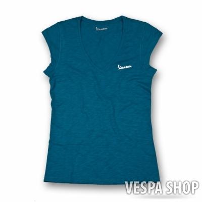 Vespa V nyakú kék női póló